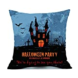 Home Decoration Pillow Cover,Woaills Halloween Party Cotton Linen Square Sofa Cushion Cases Hidden Zipper Closure (B)