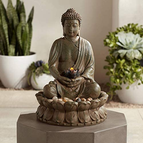 John Timberland Meditating Buddha Antique Bronze 18.5 H LED Lighted Fountain