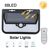 RONRI 68LED Solar Outdoor Wall Lights With Remote Control,Super Bright Motion Sensor Lights ,Wireless Waterproof Security 3 modes Intelligent lights for Outside/Home/Garden/Garage/Yard/Deck/Patio/Driv