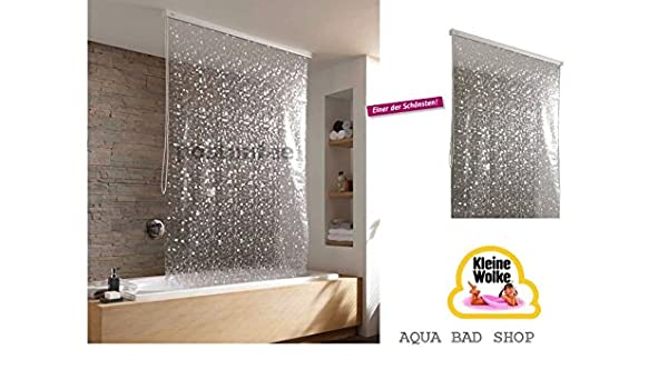 Kleine Wolke – Cortina de ducha enrollable 128 cm Diseño 4 – Stone Blanco Nacarado de alta calidad con cassette vacío de Juego completo: Amazon.es: Bricolaje y herramientas