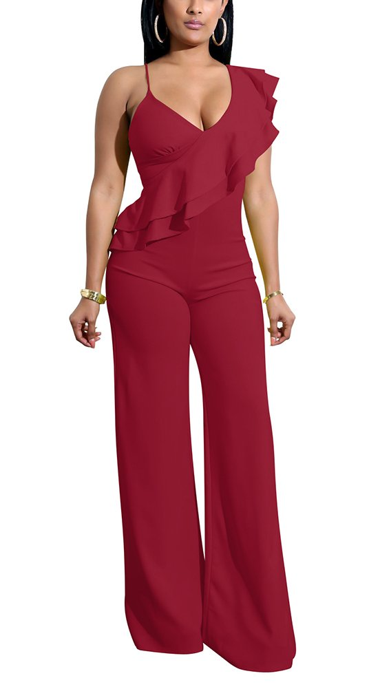PrettySoul Women Spaghetti Strap V Neck Sleeveless Ruffle Peplum Wide Leg Long Pants Jumpsuit Romper Clubwear Wine Red, Medium