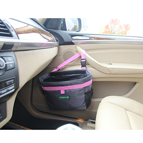 08a8eefd2047 The Drive Bin Car Garbage Can, Pink - Best Auto Trash Bag for Litter, Free  Waste Basket Liners - Hanging Recycle Kit is Universal, Waterproof ...