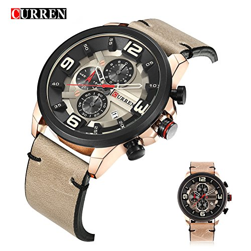 bccd226e4 Image Unavailable. Image not available for. Color: CURREN 8288 Sport Watch  Top Brand Luxury Date Leather Band Chronograph Quartz ...