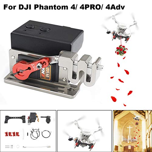 Weite Drone Clip Payload Release and Drop Device Kits Compatible with DJI Phantom 4/4 PRO Series, Double Release Thrower Drone Delivery Device, AirDrop Release Fishing Bait Wedding Proposal -