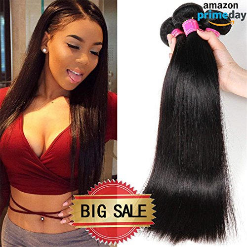 Price comparison product image VRBest Hair Virgin Brazilian Straight Human Hair Extensions 3 Bundles Unprocessed Brazilian Virgin Hair Weave Bundles Natural Black Color (14 16 18 inches)