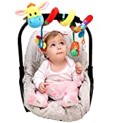 Car Seat Toys - Spiral Baby Hanging Activity Toy - Wrap Around Stroller, Crib, Pram, Bassinet - Unique Hook&Loop System - Doesn't Stay Bunched Up and Keeps it Stretched Out + eBook&Kids Songs Included