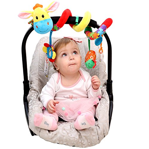 Car Seat Toys - Spiral Baby Hanging Activity Toy - Wrap Around Stroller, Crib, Pram, Bassinet - Unique Hook&Loop System - Doesn't Stay Bunched Up and Keeps it Stretched Out + eBook&Kids Songs Included by McKardon