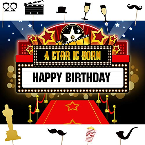 Hollywood Movie Theme Photography Backdrop Photo Props DIY Kit Dress-up and Awards Night Ceremony Photo Booth Background Event Decorations Vintage Costume Birthday Party Supplies Banner