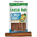 "Baxter Boy 6-inch Premium Grade Bully Sticks Dog Treats [EXTRA-THICK], (5 Pack) – 6"" Long All Natural Gourmet Dog Treat Chews – Fresh and Tasty Beef Flavor – 30% Longer Lasting"