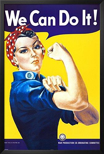 (FRAMED Rosie the Riveter (We Can Do It!) by J. Howard Miller 36x24 Art Poster Print Vintage World War II Slogan Propaganda)