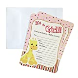 Baby Shower Invitations, 12-pack, 7-Inches, Giraffe (Light Pink)