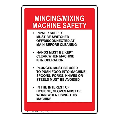 Mincing/Mixing Machine Safety Label Decal, 10x7 in. Vinyl for Safe Food Handling by ComplianceSigns