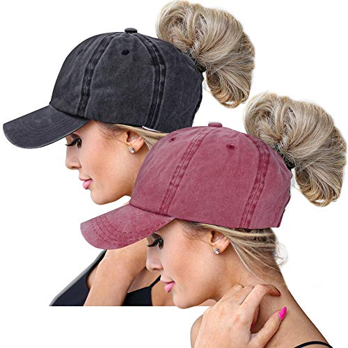 High Ponytail Baseball Hats Cap for Women(Mesh/Glitter/Washed/Classic),Messy Bun Ponycaps Adjustable Cotton Sun Baseball Cap (Washed-2Pack-Black/Red) (Adjustable Hat Ladies Red)
