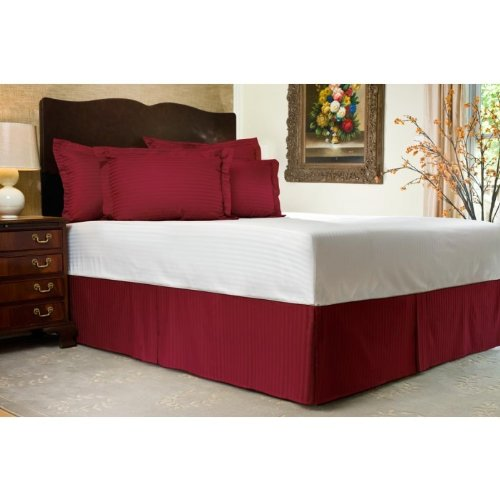 "UPC 888099112473, 500 Thread Count 100% Egyptian Cotton Stripe Wine King / California King 30"" Drop Length Bed Skirts"