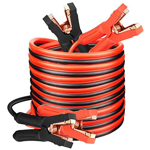 Jumper Cables Heavy Duty Booster Cables 0 Gauge x 25Ft (0AWG x 25Ft) 1000Amp for Cars Trucks SUVs Vehicle Roadside Emergency Car Jumper Starter Kit with Goggles Gloves Cleaning Brush in Carry Bag