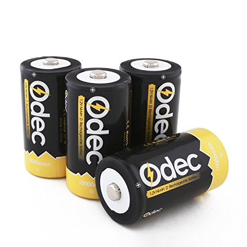 Odec D Cell Rechargeable Battery, 4-Pack 10000mAh Deep Cycle NiMH Battery Pack by Odec