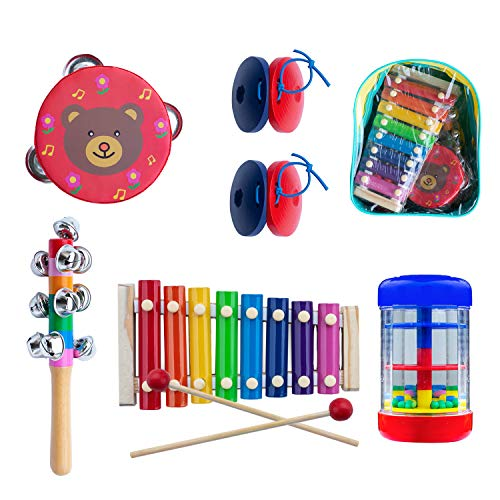 Halloween Musical Instruments (Toddler Musical Instruments, 5 Types Wooden Percussion Instruments Tambourine Xylophone for Kids Preschool Education, Early Learning Musical Toy for Boys and Girls with Storage)