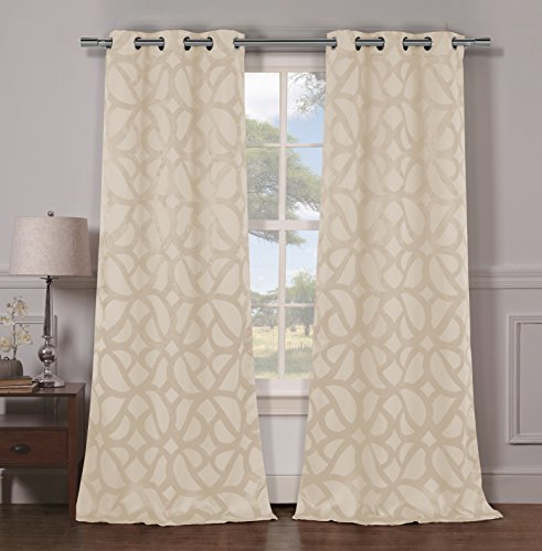 Duck River Textiles CHARLOTTE 10755D=12 2 Piece Charlotte Blackout Grommet Pair Panels, (Champagne Living Room Set)