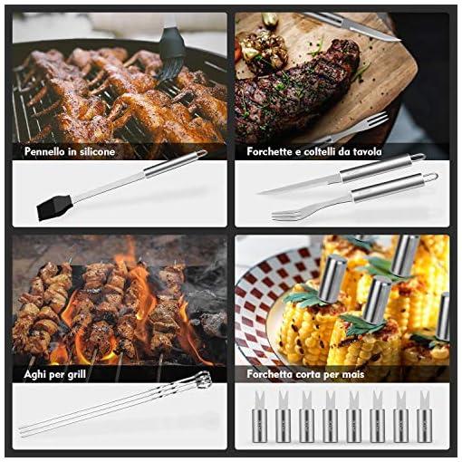 VPCOK 33 in 1 Attrezzi Barbecues Utensili Barbecue Kit Barbecue Barbecue Posate Set di Griglia per BBQ Griglia Barbecue Accessori Barbecue in Acciaio Inox Perfetto per Campeggio/Regalo (32 Pezzi)