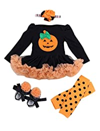 4PCs Halloween Baby Gift Outfit Set Baby Leg Warmer Hat Hairpin shoes