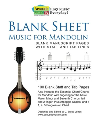 Amazon Blank Sheet Music For Mandolin Blank Manuscript Pages