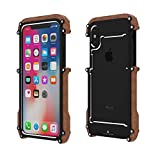iPhone X Wood Metal frame Case, Drop Protection Ultra Thin Aluminum Metal Cover Protective Case Shockproof Dropproof Bumper Frame for Apple iPhone X / iPhone tan 5.8inch (Black)