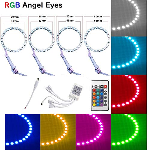 - Qiuko 4pcs 80mm LED Angel Eyes Ring Multi-Color RGB 16 Color Changing Flashing 5050 COB Angel Eye Halo Ring Light Kit Plus Remote Control For BMW E30 Non-Projector E38 E36 E39 3 5 7 Series