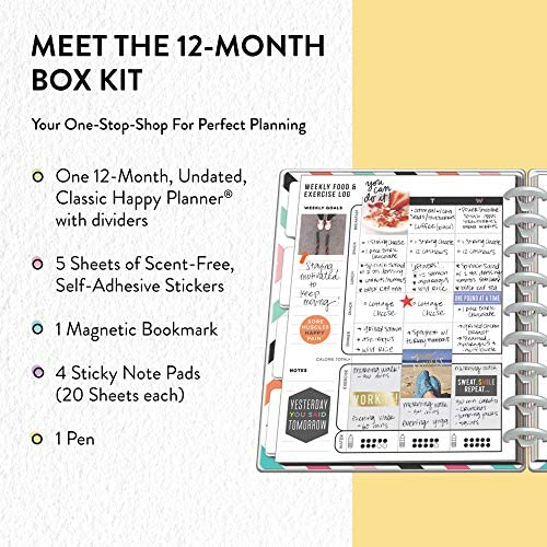 me & my BIG ideas The Happy Planner Box Kit - Sweat Smile Repeat Theme - 12 Month Undated - Vertical Layout - 5 Sheets of Stickers, 1 Pen, 1 Magnetic Bookmark, 4 Sticky Note Pads - Classic Size 3