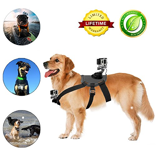 Dog Harness Mount Chest Strap Mount for GoPro HERO 6 /5 /5/4/3+ Session DBPOWER AKASO VicTsing APEMAN WiMiUS Rollei QUMOX Lightdow Campark Sony Sports DV and More by NEWTTY KAY