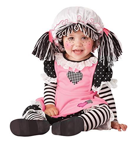 Baby Rag Doll Halloween Costume (California Costumes Girls Baby Doll-Infant Costume, Black/Pink/White, 6 Mo-12)