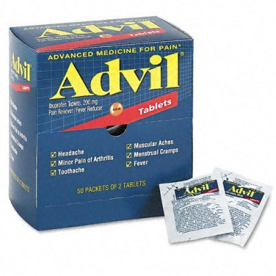 - Advil Ibuprofen Individually Wrapped Medication, 50 Doses of Two Tablets, 200 mg (Pack of 2)