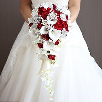 Amazon iffo calla lilies simulation rose diamonds pearl bride iffo calla lilies simulation rose diamonds pearl bride wedding bouquet red junglespirit Choice Image