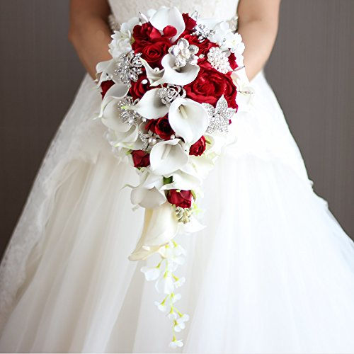 Iffo calla lilies simulation rose diamonds pearl bride wedding bouquet (red) by IFFO