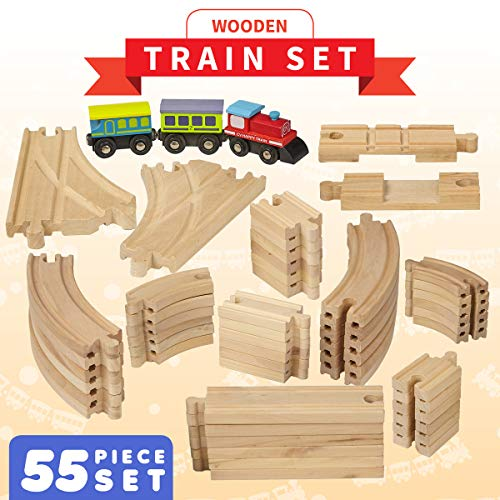 rain Tracks - 55 Piece - Compatible with Brio, Thomas, Chuggington and All Major Brands – Accessories and Expansion Kit Includes 52 Tracks and 3 Cute Cars ()