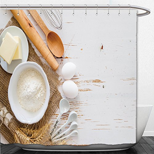 Interestlee Shower Curtain ingredients for baking milk butter eggs flour wheat white wood background copy space top view 324248024 (Pch Canopy Bed)