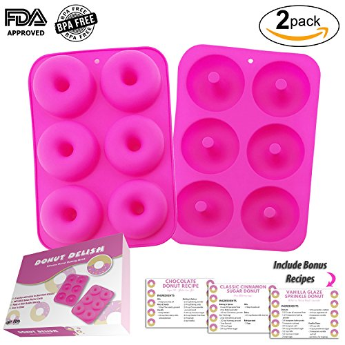 Chocolate Lovers Bikini (DONUT DELISH 2-pack Donut Baking Molds - Includes BONUS Recipe Cards & Gift Packaging - Non-Stick, BPA FREE, FDA Approved, 100% Food Grade Silicone - Makes 12 Donuts)