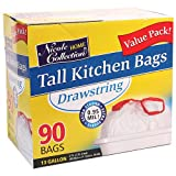 Nicole Home Collection 90 Count Tall Kitchen Drawstring Trash Bags, 13 gal