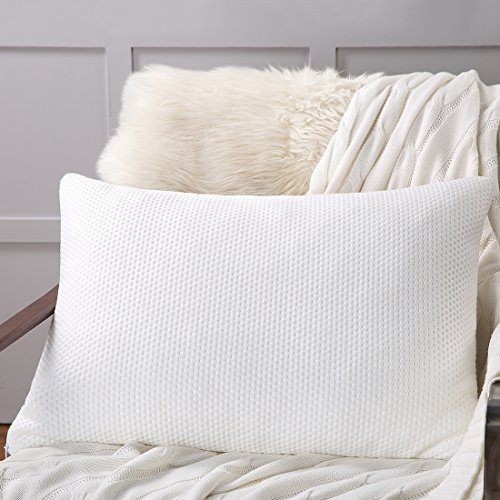Luxury Shredded Memory Foam Bed Pillow with Zipper Removable Washable Bamboo Derived Rayon Cover ...