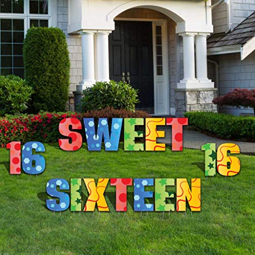 Sweet Sixteen Yard Decoration - Sweet Sixteen Letters Lawn Display - 27 Stakes (Multi-Colored)