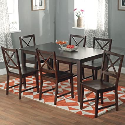 7 piece espresso dining set powell piece dining table and chair set in espresso finish update your space with amazoncom finish