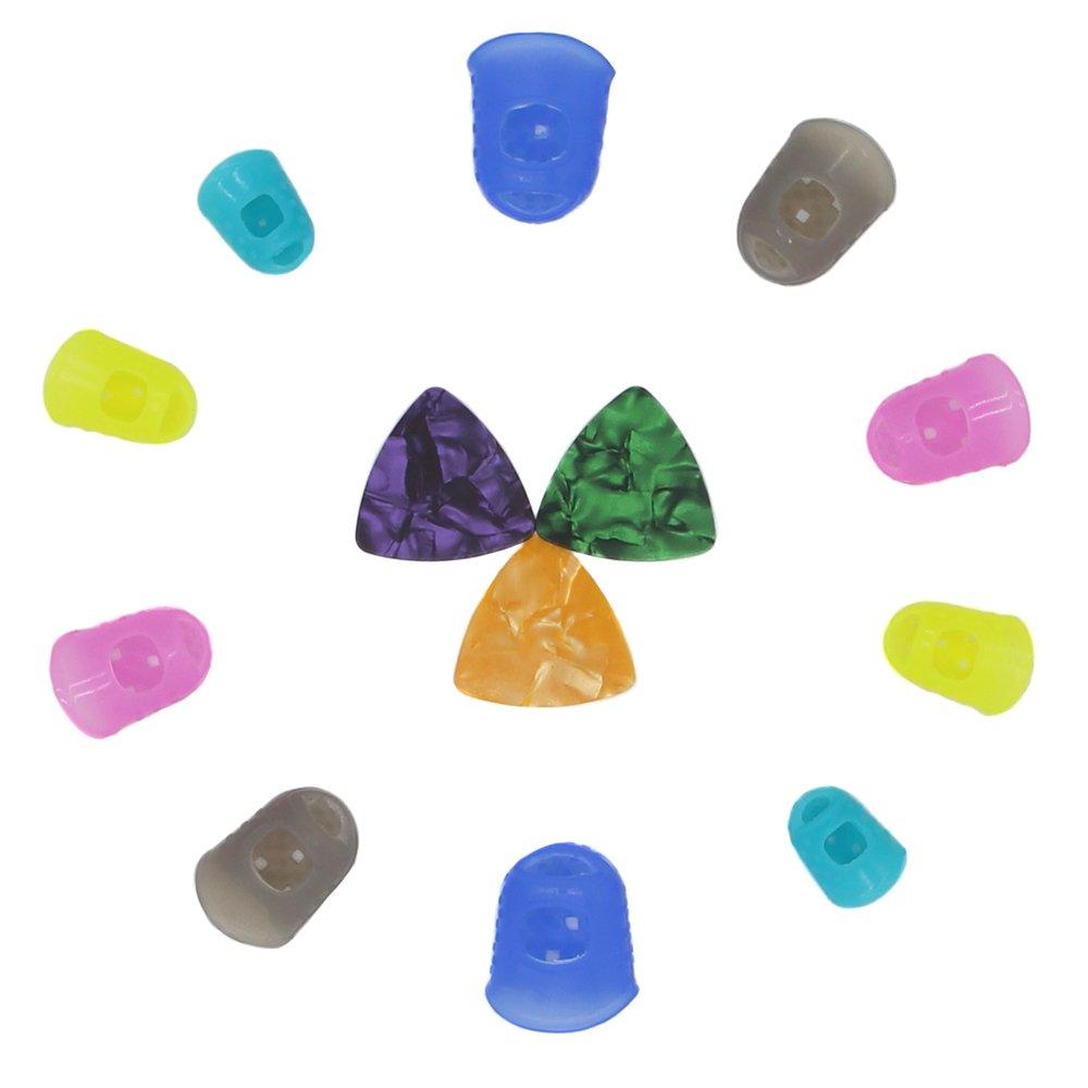 Set de 10 L/M/S/XS/XXS tamaño guitarra protectores de dedos silicona dedos para ukelele/guitarra eléctrica & 3 varios colores Pearl celuloide púas de ...