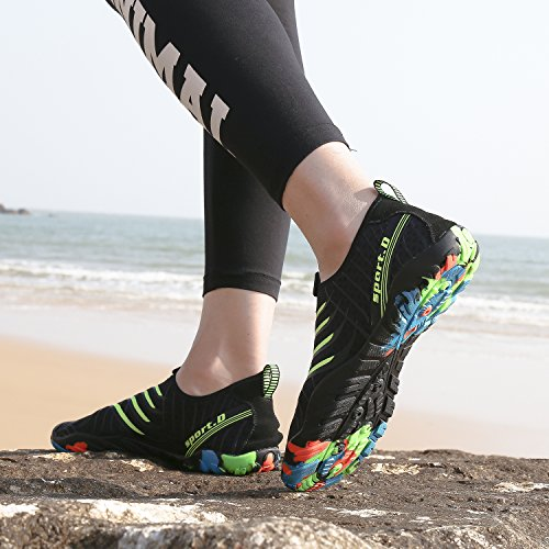 Shoes Shoes Yoga Aerobics Dry Swimming Sports for Mens Beach Aqua Quick Snorkeling with Rubber Water Shoes Non Womens New Boating Pool Swim black Sole Surf Slip fPdgnX