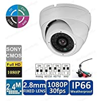 2.4MP 4-in-1 TVI CVI AHD CVBS (960H) Full HD 1080p Dome In/Outdoor IP66 Weatherproof CCTV Security Camera 24IR LED Night Vision 2.8mm Lens BNC Output White