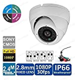 2.4MP 4-in-1 TVI CVI AHD CVBS (960H) Full HD 1080p Dome in/Outdoor IP66 Weatherproof CCTV Security Camera 24IR LED Night Vision 2.8mm Lens BNC Output White For Sale