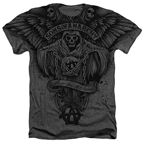 Sons Of Anarchy Winged Reaper Mens Heather Shirt Charcoal Lg