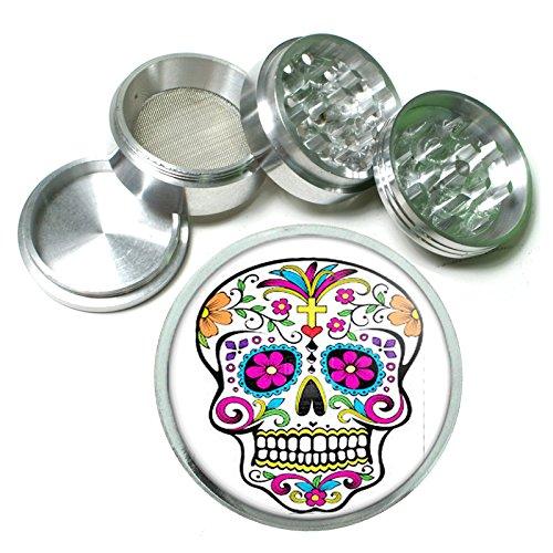 Sugar Skull D6 Herb & Spice Grinder 63mm 4 Piece Aluminum Silver Metal Day of the Dead Dia De Los Muertos Mexican Folk Art Dia De Los Muertos Folk Art
