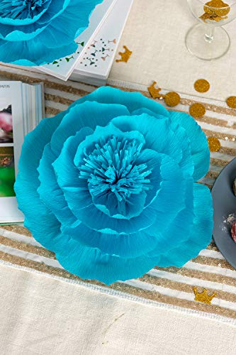 d5de5e272bcdb Paper Flower Decorations, Large Crepe Paper Flowers, Wedding Flower  Backdrop, Giant Paper Flowers (Purple, Teal Blue, Light Green, Set of 6)  for ...