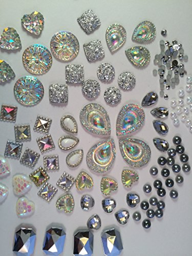 400 Pcs of Assorted Silver Pearl Finish, Iridescent Flat Back Teardrop Beads Cabochons Assorted Sizes 4mm-18mm (Rhinestones Charms Pearl)