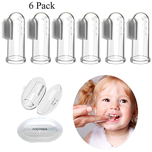 AnyBack Baby Toothbrush,Silicone Finger protectors fingertip Toothbrush for Infant&Toddlers&Kids, Toothbrush Teether and Oral Massager with Case Set of 6(Clear) by AnyBack