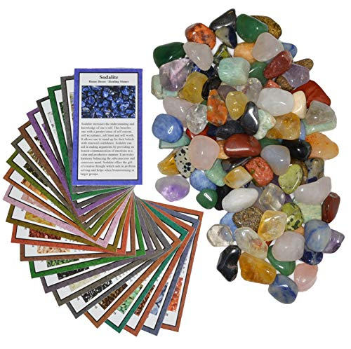 Fantasia Materials: 2 lbs Small Tumbled Polished Natural Gem Stones with Educational Rock Information and Identification Cards - avg 0.75